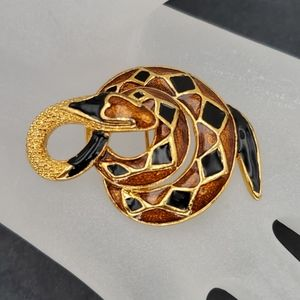 Brown/Black/Gold Tone Snake Brooch